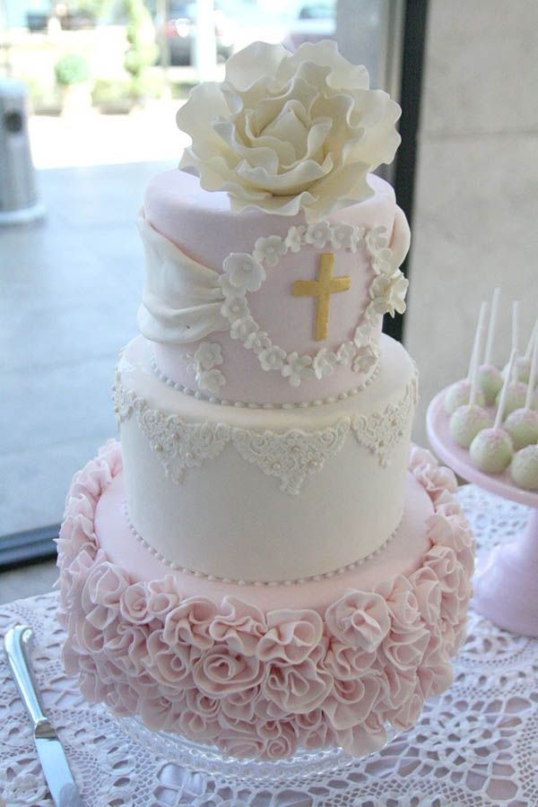 Beautiful Baptism/First Communion Cakes - Tired of the same old cake? Here are some inspirational cakes to create for your little one's baptism or communion.: