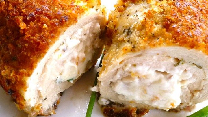 Chicken, cream cheese, and garlic unite in this marriage of Chicken Neptune, Chicken Kiev, and a shorthanded pantry! Takes less fuss than either of its inspirations, and recipe can easily be increased for larger households.