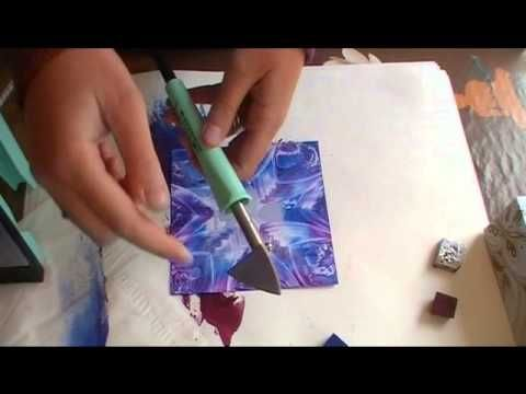 Painting demonstration in hot wax : Encaustic Art Sunflower postcard. Demonstration using a limited palette and an encaustic stylus heat tool. Please visit t...