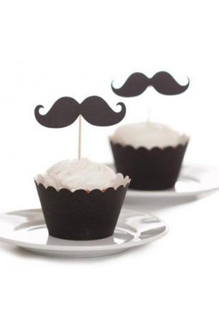 Dekoration till cupcakes - mustasch