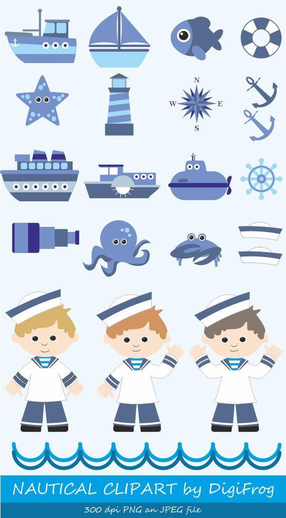 Navy, blue nautical marine clipart, sailor clipart, sea ocean clipart, summer clipart, anchor clipart, steering wheel, lighthouse, submarine by DigiFrog on Etsy