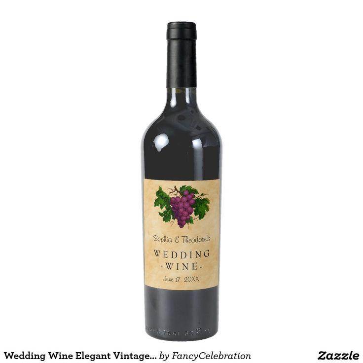 Wedding Wine Elegant Vintage Purple Grapes Custom Wine