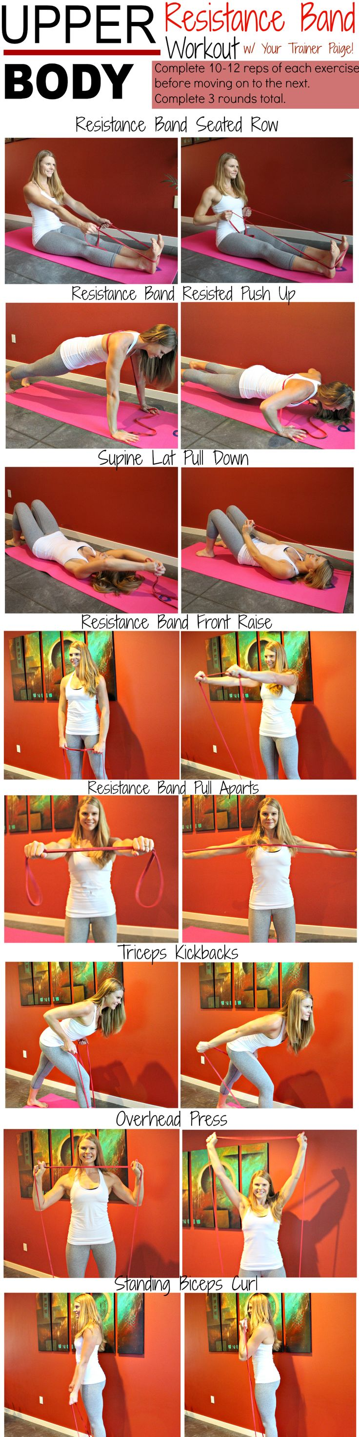 A great workout for the upper body! All you need is one resistance band and a little time in your living room!
