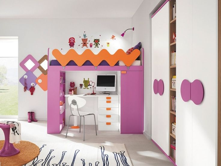 Kids Bedroom : Girls Cabin Bunk Bed Pink Orange Accents Schemes Workspace Computer Desk Drawer White Chair Bookcase Storage Wall Lamp Cartoon Wall Sticker Stool Brown Round Shag Rug Some Important Point You Should Obey During Kids Bedroom Development Kids Bedroom Ideas. Kids Bedroom Design Ides. Kids Bedroom.