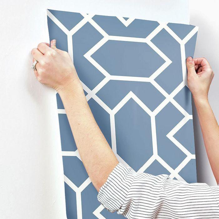 Roommates Modern Geometric Peel Stick Wallpaper Blue Peel And Stick Wallpaper Temporary Decorating Decorating Solutions