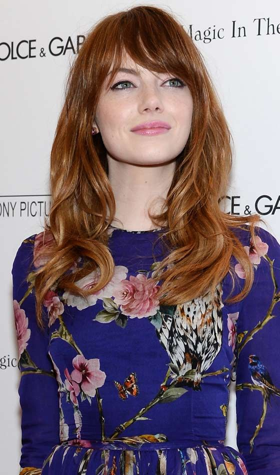 Long Hairstyles For Round Faces - Glam Waves With Sweeping Bangs #Gingerhead #Redhead #Redhairgirls