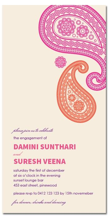 Bollywood Lace Engagement Invitations - Invitations - ADULTS - Birthday