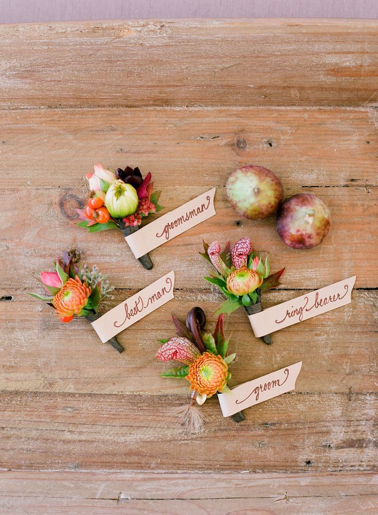 Fall Wedding Boutonnieres | Redfield Photography | Theknot.com