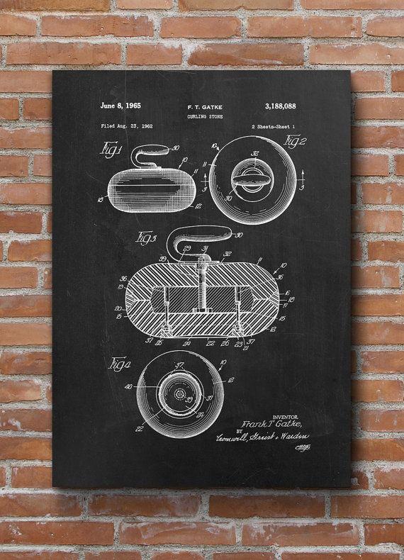 Curling Stone Patent Print, Curling Stone Patent, Sports Art, Sports Wall Art…