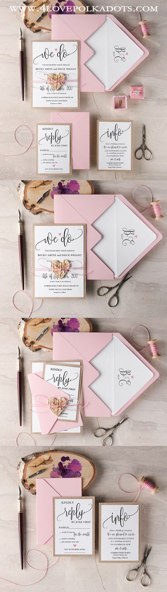We Do Rustic Boho Wedding Invitations || @4LOVEPolkaDots