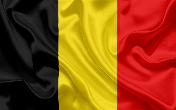 Download wallpapers Belgian flag, Belgium, Europe, silk, flag of Belgium