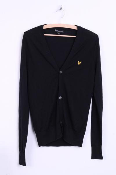 Lyle & Scott Womens M Jumper Sweater Black V Neck Wool Top - RetrospectClothes