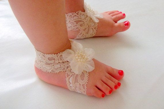 Baby Sandals, Baby Shoes, Cream Lace,Cream Flower-Handmade Baby Sandals with Cute Yoyo. $8.30, via Etsy.