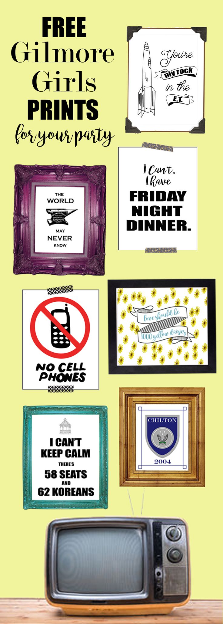 Beautiful Gilmore Girls Prints for my Gilmore Girls revival party! Gilmore…