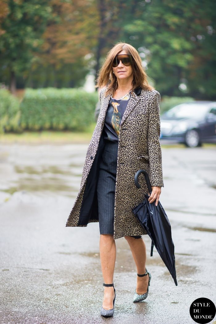 Prints In Street Style Carine Roitfeld In Leopard At Milan Fashion Week Spring 2015 Dvcl
