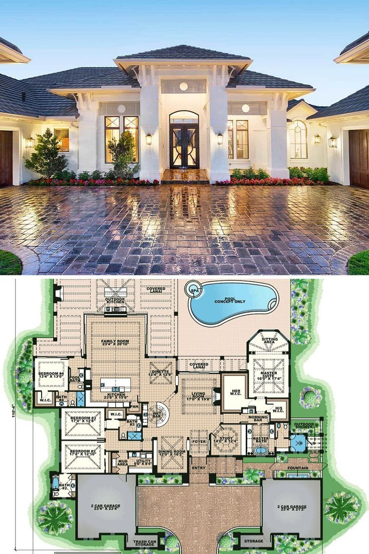 Single Story 4 Bedroom Luxurious Mediterranean Home Floor Plan House Plans Mansion Florida House Plans My House Plans