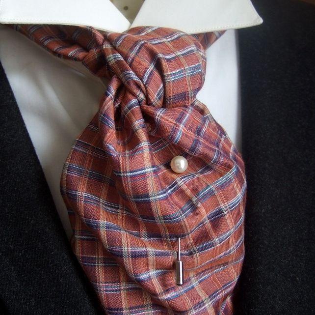 Wild Silk Cravat Blue on Burnt Orange Check Plaid £26.00