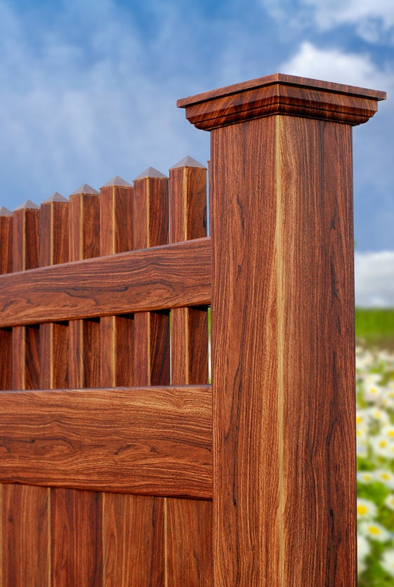 V3700-6 Tongue and Groove Vinyl Privacy Fence with Straight Classic Victorian Picket Topper. Shown in Grand Illusions Vinyl WoodBond Walnut grain (W103).