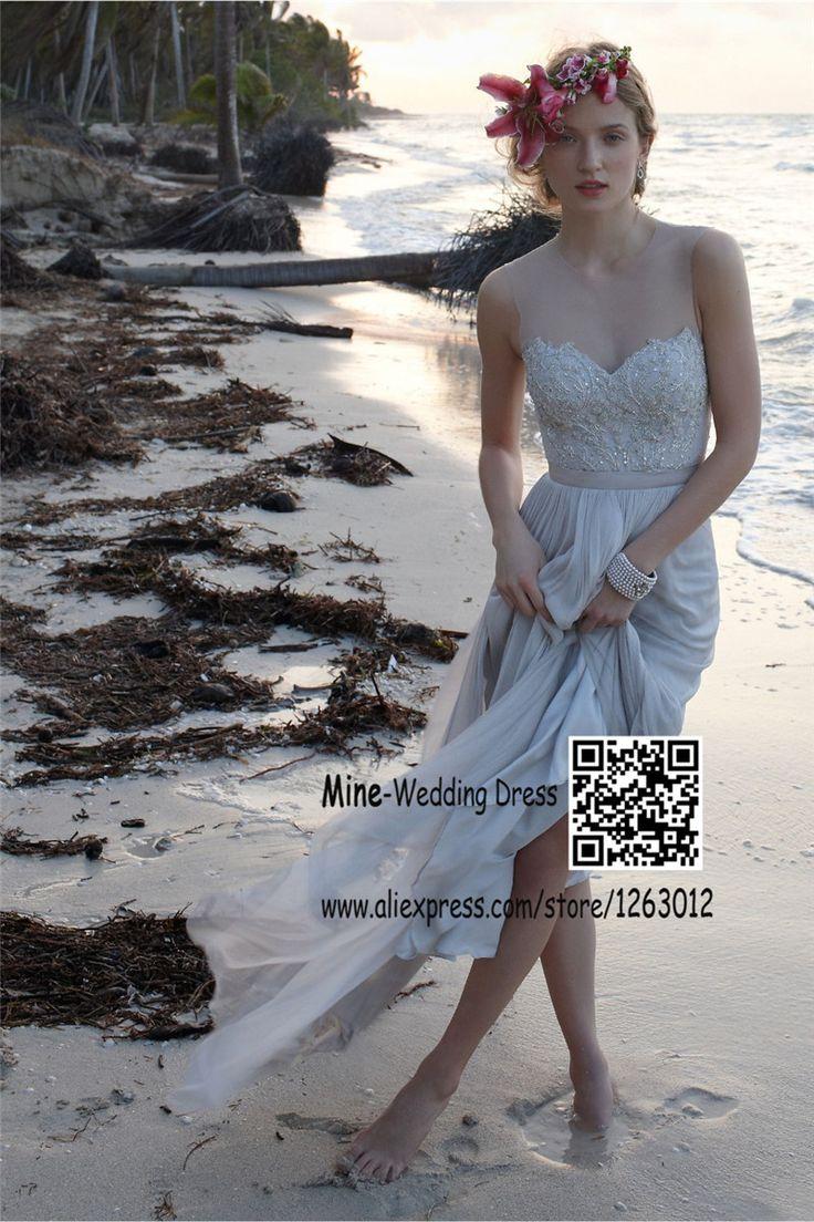 Само джевел-шее кружево отбортовывая линию шифоновое официально лонг-бич свадебное платье свадебная свадебное платье