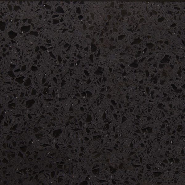 This is the smoking hot Cosmico Nero. It is a very popular black style quartz with perfect mirrored pieces throughout.