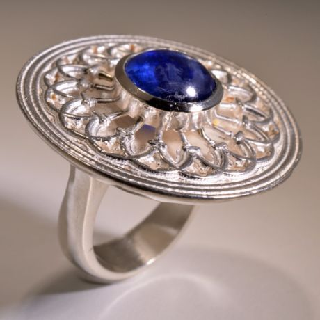 Ring in 925 silver, completely handmade, depicting the reproduction of the rose window of Muggia Duomo (Ts).
