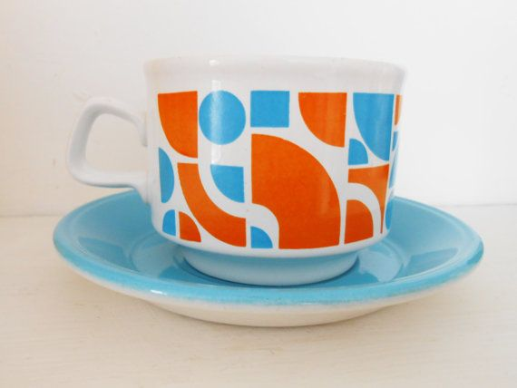 RARE Staffordshire England Blue and Orange Retro Gemoetric Trio- China Pottery- Midcentury MOD Bold Graphic- Cup Saucer Side Plate