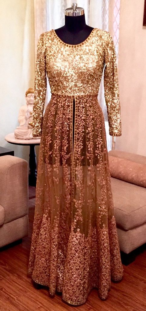 Sabyasachi Inspired Gold Sequin Lehenga