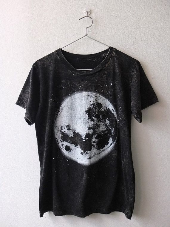 Full moon space stone washed punk rock goth T-Shirt M