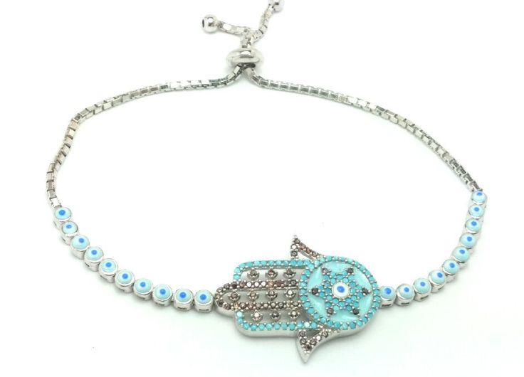 Evil Eye Tennis bracelet with Hamsa Symbol,Evil Eye Bracelet,Hamsa Enamel Turquoise Fashion bracelet,Hamsa Symbol,Bracelet evil eye Hamsa by Vaptism on Etsy