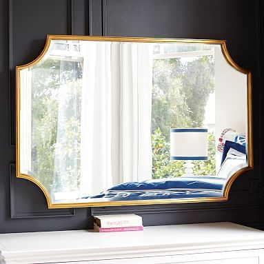 MIRROR:Amazing over my Fireplace Mantel, NOT just for teens!  Scallop Gold Leaf Mirror #pbteen