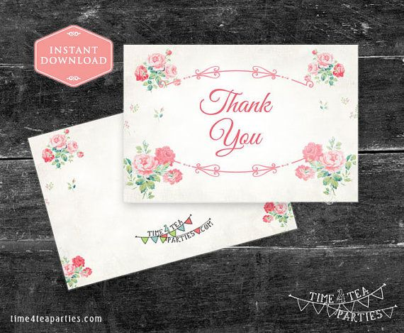 Pink Floral Thank you Card  Bridal Tea  Baby by Time4TeaParties
