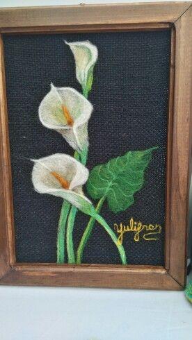 Pintura con vellon agujado,sobre paño tejido a telar.