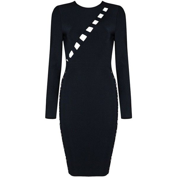 Honey Couture Black Cut Out Ring Lace Up Long Sleeve Bandage Dress ($76) ❤ liked on Polyvore featuring dresses, bandage dress, lace front dress, cut out dresses, couture dresses and cutout dresses