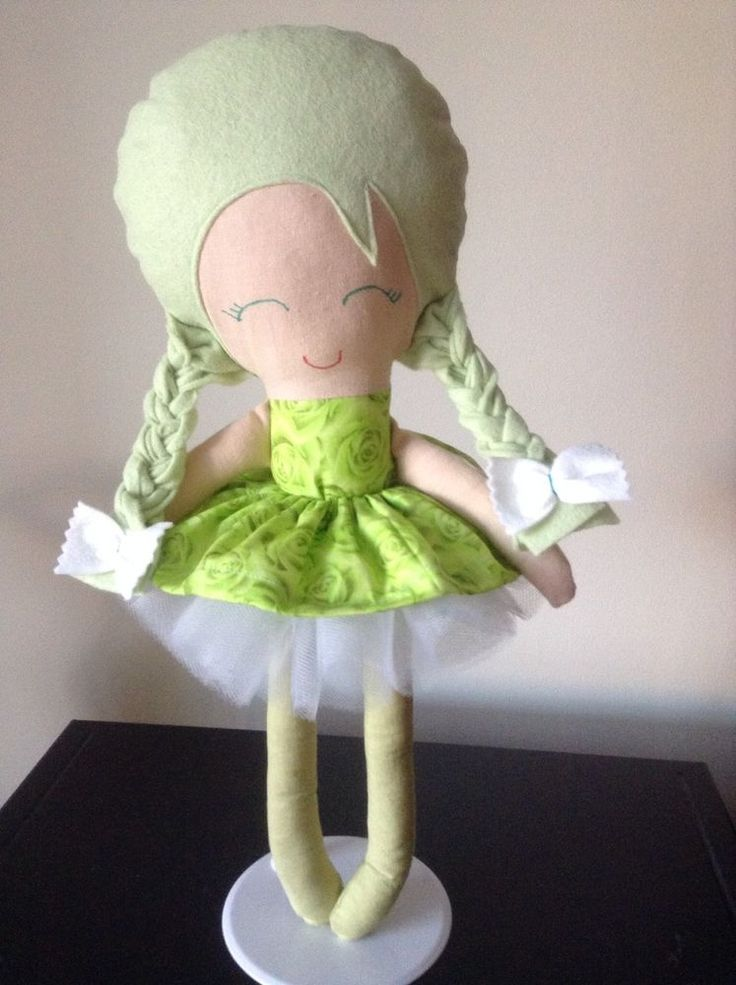 Handmade Lime Rosie Doll With white tutu
