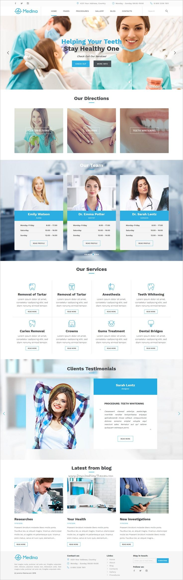 Medina is the beautiful 4in1 #WordPress theme for #dental #clinic, private clinics, plastic surgery and personal doctors websites download now➩ https://themeforest.net/item/medina-wordpress-medical-theme/19068097?ref=Datasata