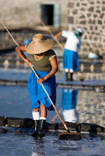 Production of salt from sea water in Tamarin, west coast of the island #Mauritius