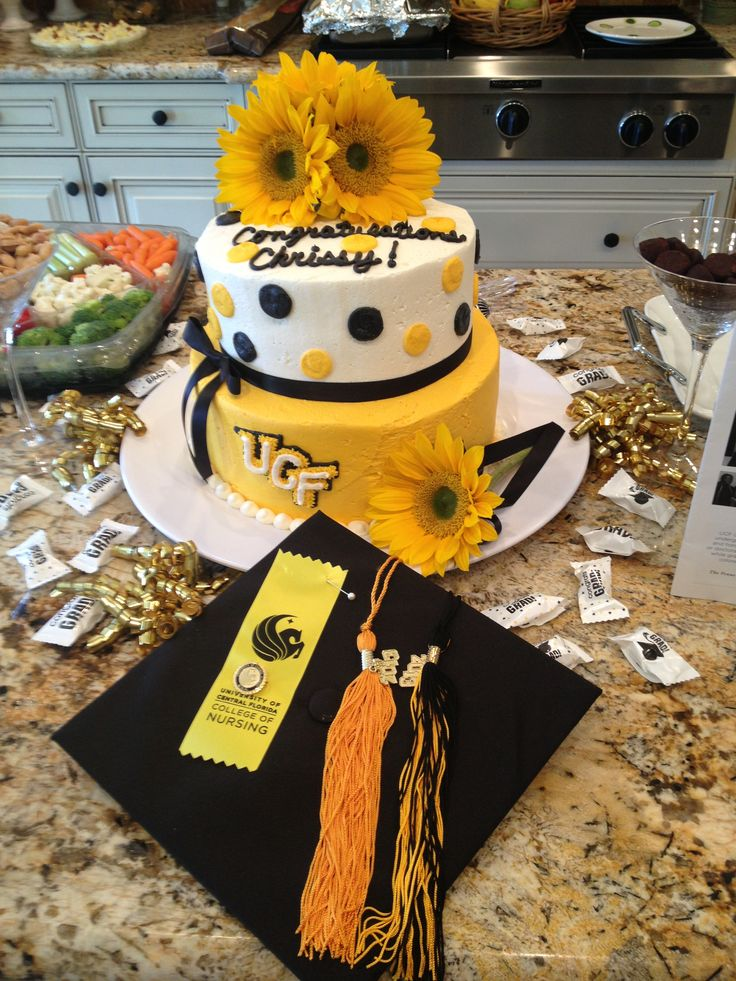 Ucf Graduation Cake Without The Flowers Or Ribbon