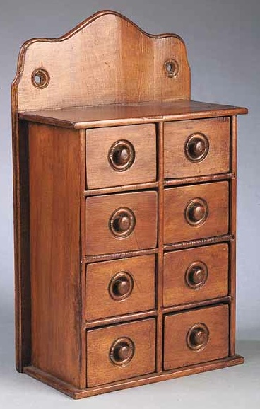American Walnut Wall Mounted Spice Cabinet, Mid 19th C., With Curved