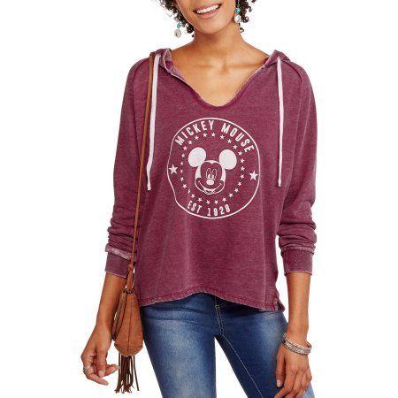 Disney Mickey Ladies Split Neck Burnout Hoodie Sweatshirt, Red