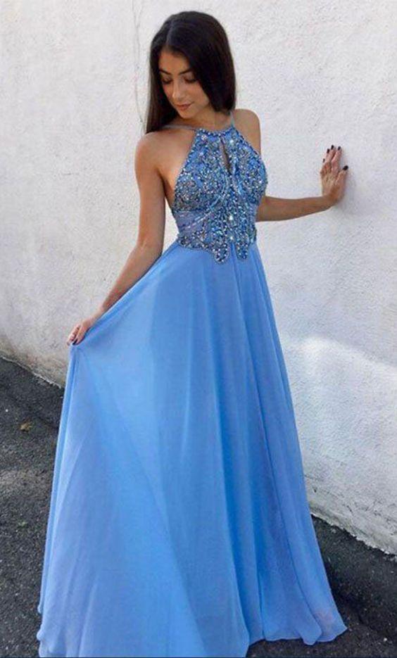 Sexy Halter prom dress Sky Blue prom dress Floor Length Prom Dresses  Evening Dress With Beaded party dress 9afa35356fb0