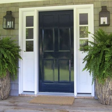 Navy blue door and shutters khaki and white house for Navy blue front door