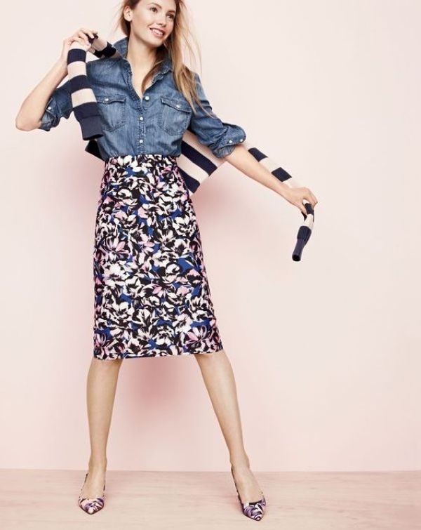 J.Crew Women's Cotton Striped Crewneck Sweater, Western Chambray Shirt, A-Line Skirt In Hibiscus Print and Painted Petal Dulci Kitten Heels