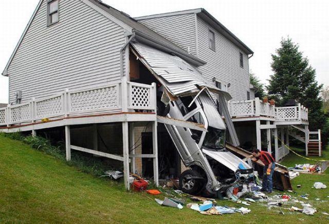 Car crashing through a garage
