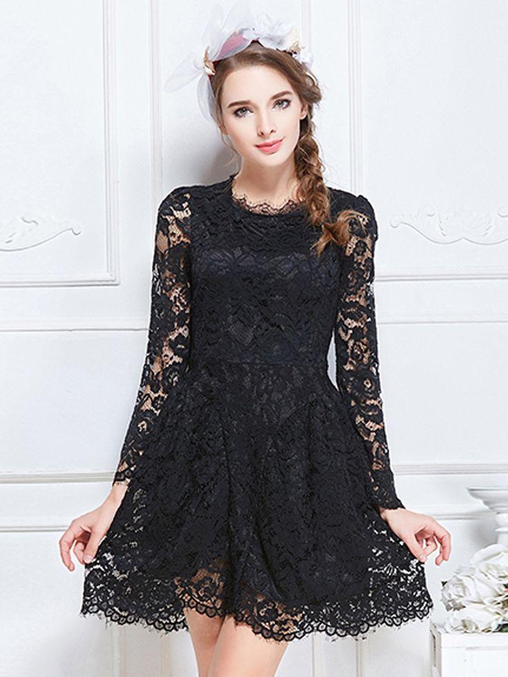 Black Sheer Lace Long Sleeve Skater Mini Dress