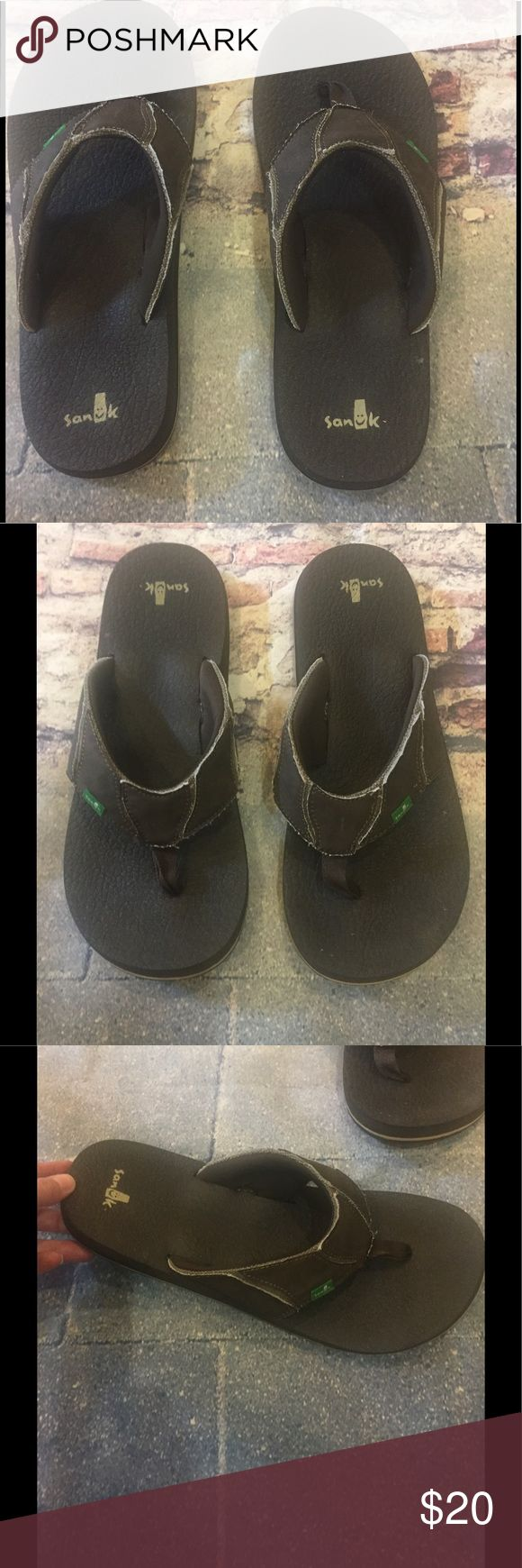 Men's Chocolate Sanuk Flip Flops, size 12!!! EUC!!! Men's Sanuk Flip Flops, size 12!!! Chocolate Fault Line! Only worn once!!! Made from yoga mats, very soft and squishy 😉😉😉 Sanuk Shoes Sandals & Flip-Flops