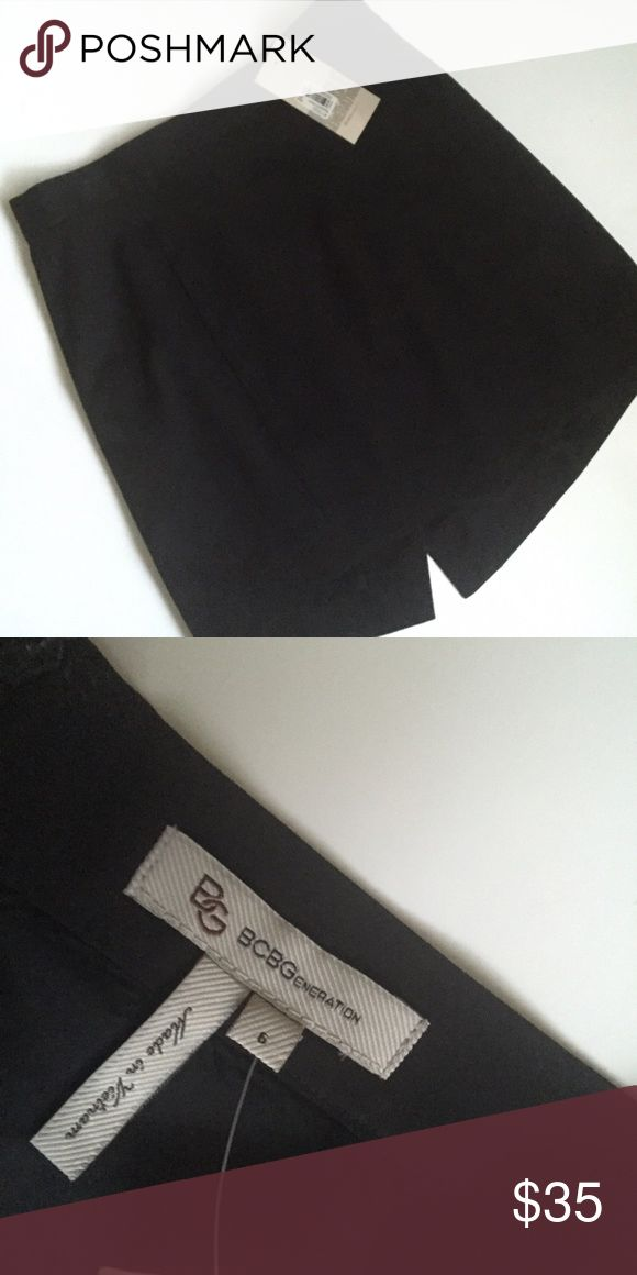 BCBGeneration Skirt Black tuxedo skirt. Higher in the front than in the back, with a small slit in back. Never worn! Size 6. BCBGeneration Skirts