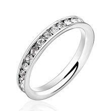 Hot Ring Ajándékok Ékszerek Női 316L rozsdamentes acél .1Ct Gyűrűk örökkévalóság gyűrű kiegészítők Wedding & Events (Silveren SI0189) (Kína (szárazföld))
