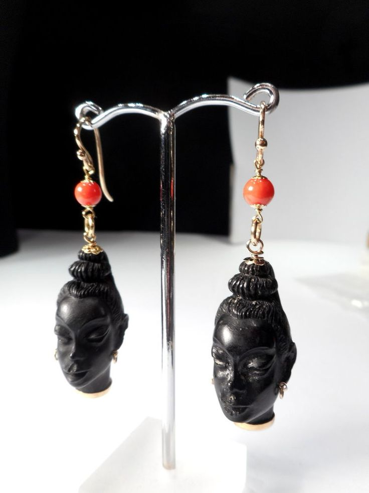 18CT GOLD BLACKAMOOR  CORAL EARRINGS .... CORLETTO ITALY DESIGNER