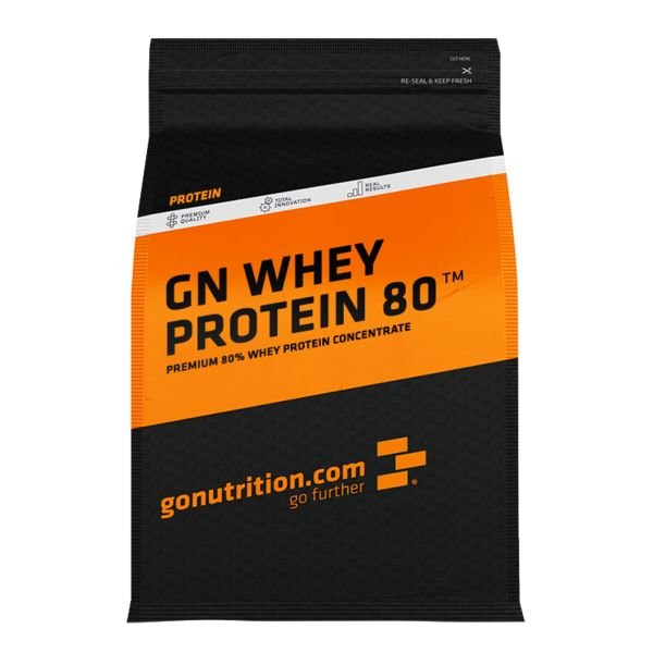 GN Whey Protein 80™ - GoNutrition - Benefícios Chave - 78% teor proteico - 19,5g de proteína por cada porção de 25g. - Ideal para o crescimento e reparação do tecido muscular. - Rico em BCAAs e ácido glutâmico.