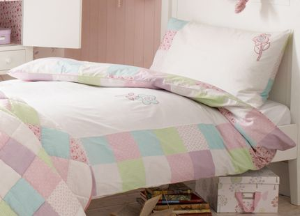 Girls Clementine Flower Bedset Made from cool, comfy cotton, this single duvet cover and matching pillowcase for girls features scatterings of pretty stylised flowers in soft pastel colours.